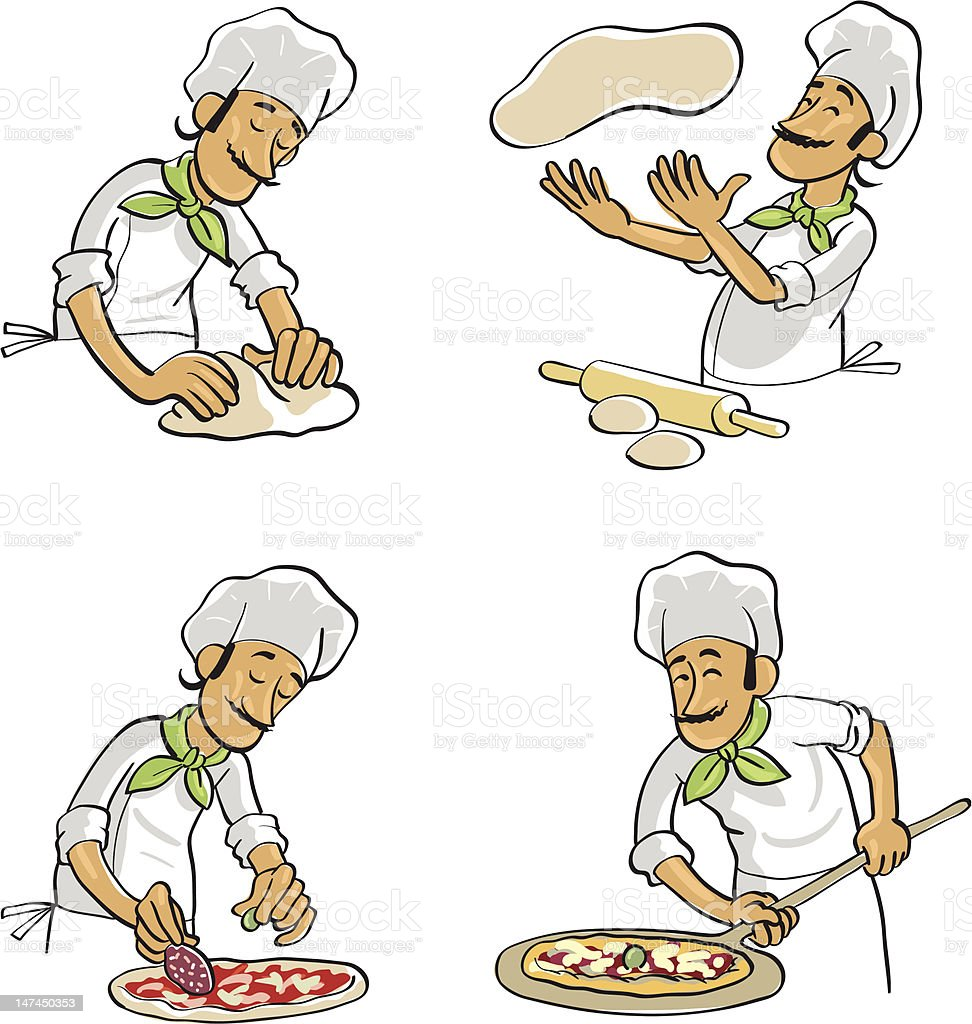 Cook preparing pizza royalty-free stock vector art