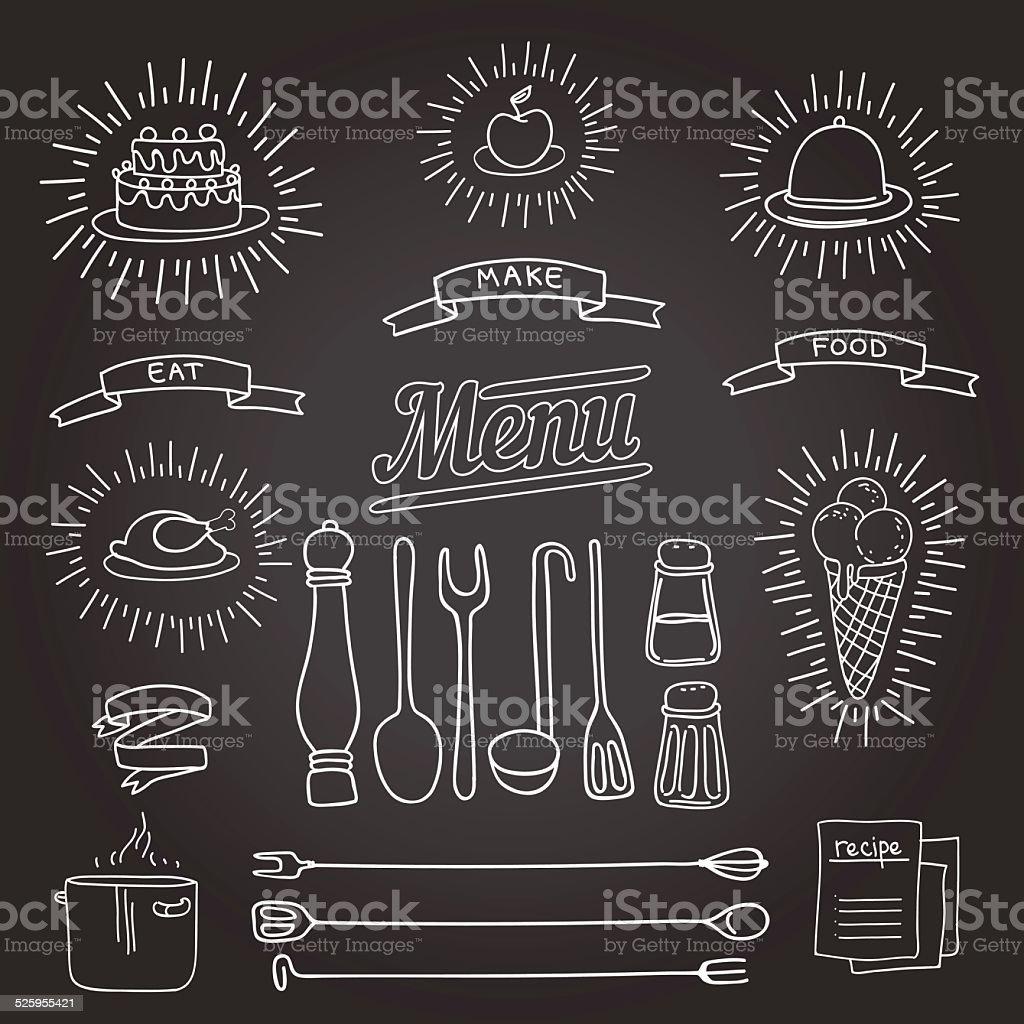 cook set vector art illustration