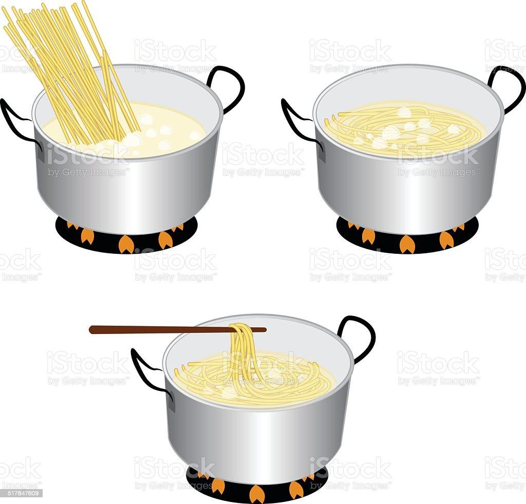 cook spaghetti vector art illustration