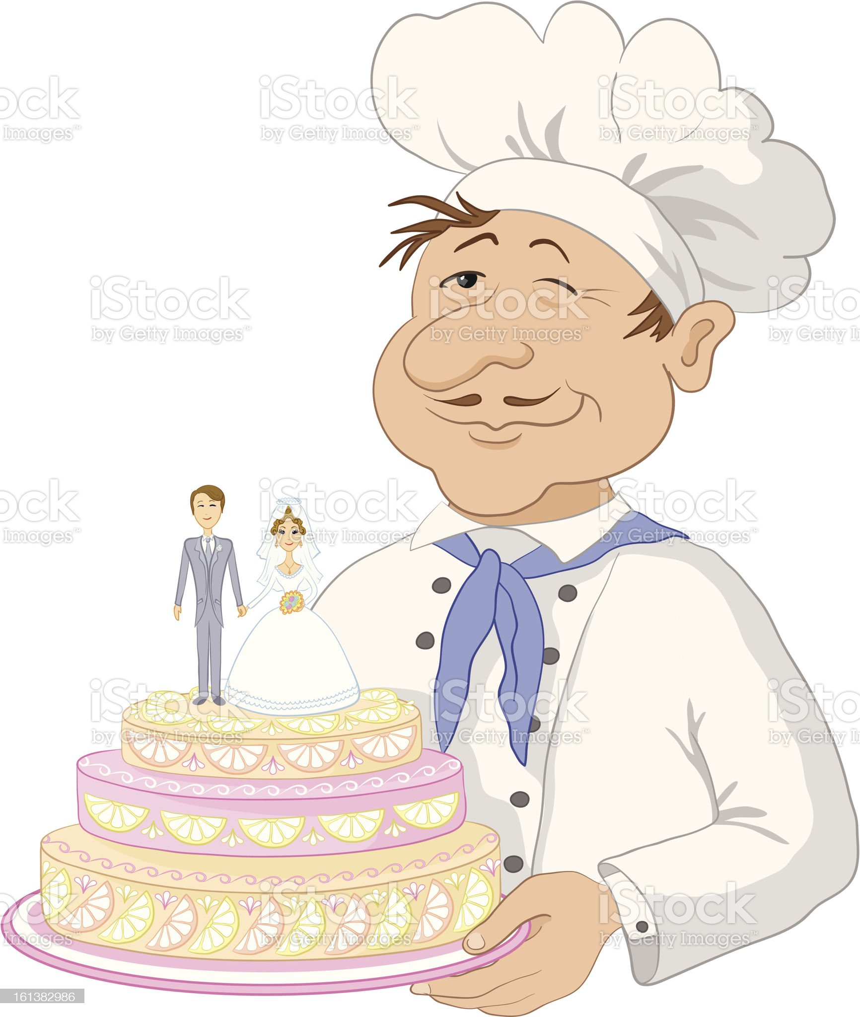 Cook with holiday wedding cake royalty-free stock vector art