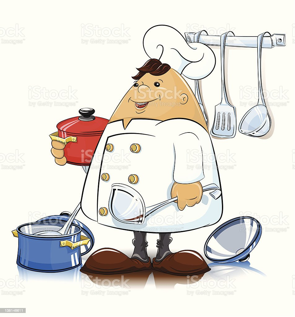 cook with kitchen utensils royalty-free stock vector art