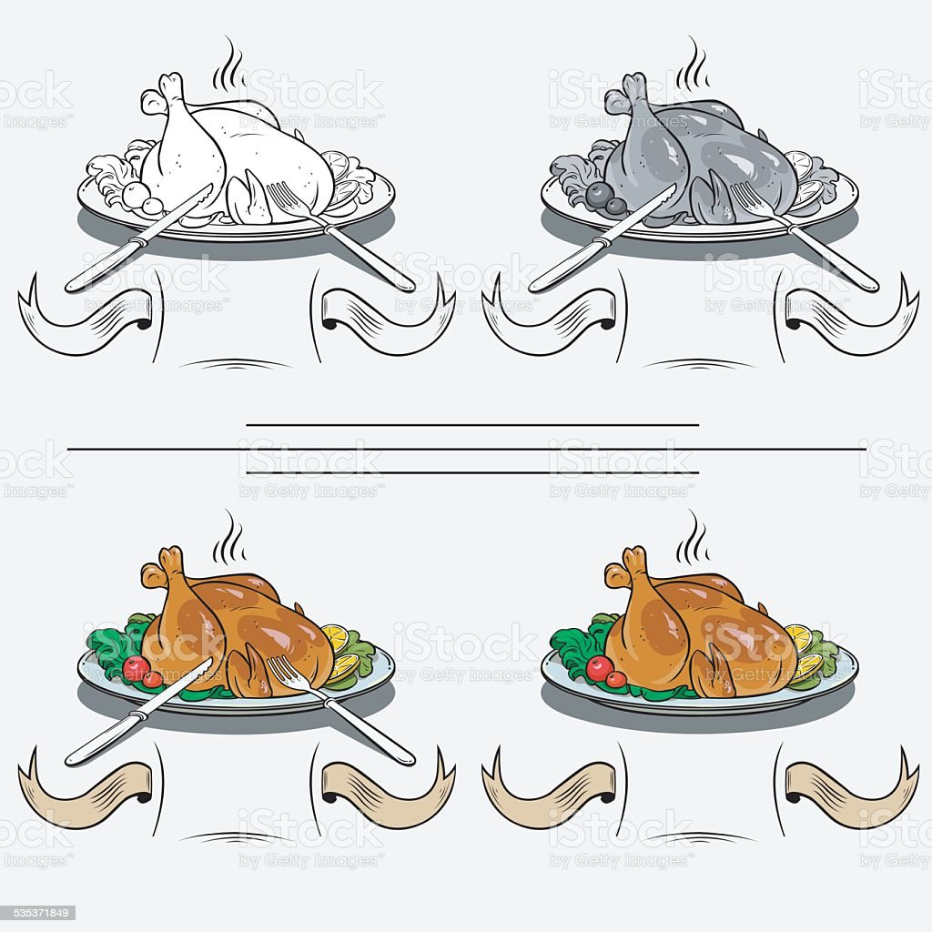cooked chicken on the grill royalty-free stock vector art