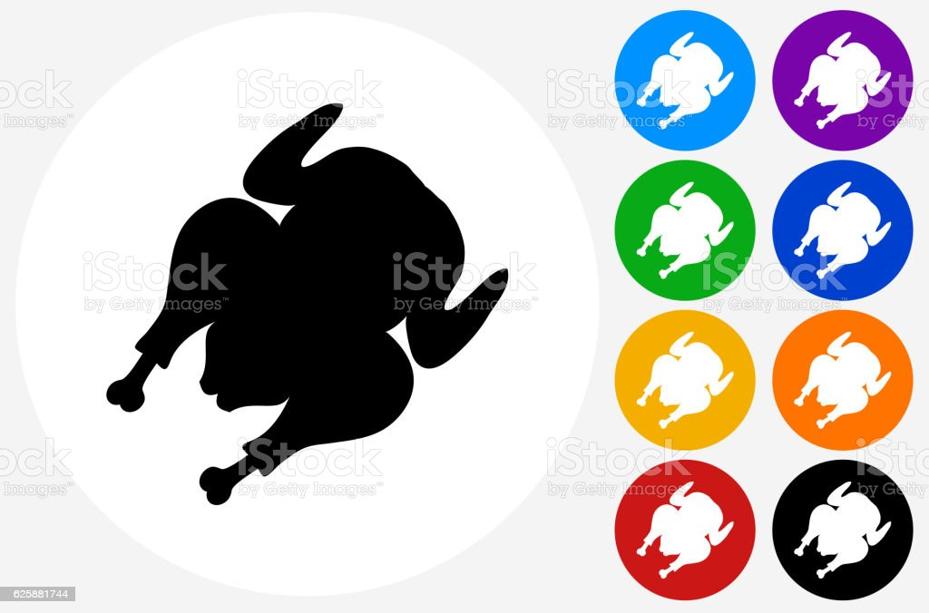 Cooked Poultry Icon on Flat Color Circle Buttons vector art illustration