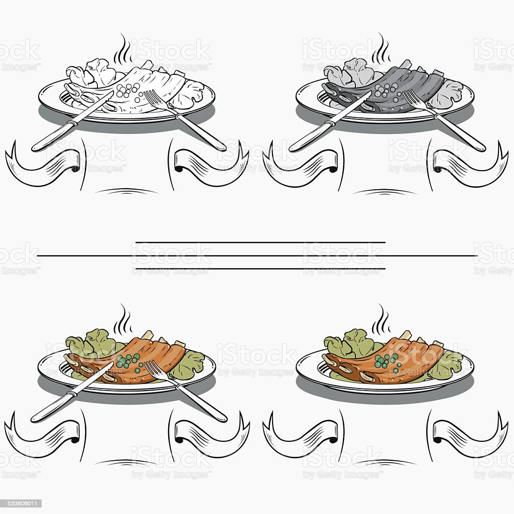 cooked ribs on the grill royalty-free stock vector art