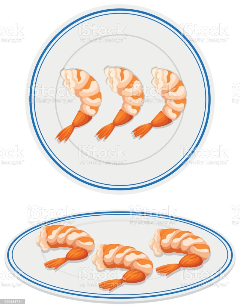 Cooked shrimps on plates vector art illustration