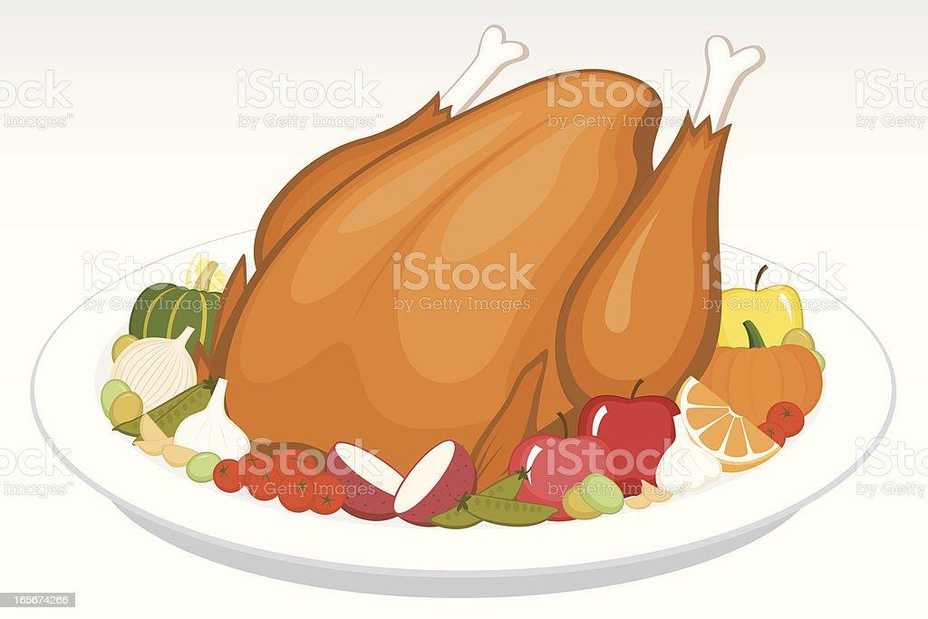Cooked Turkey vector art illustration