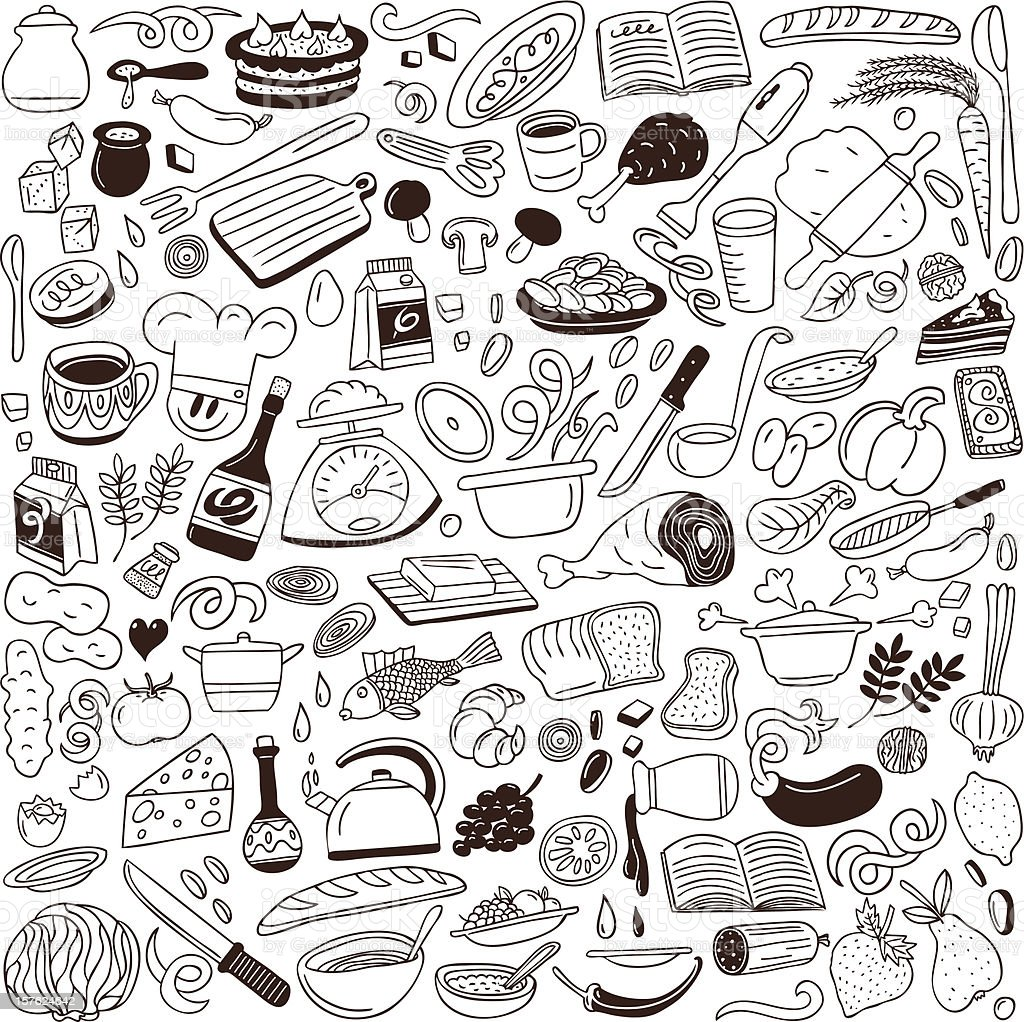 cookery doodles collection royalty-free stock vector art