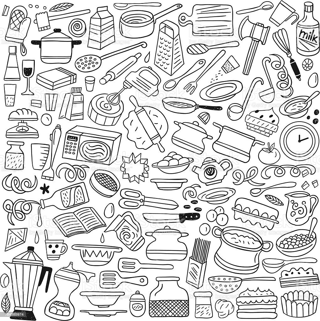 Cookery, kitchen tools - doodles royalty-free stock vector art