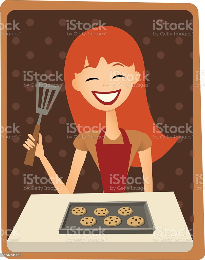 Cookie baking woman royalty-free stock vector art