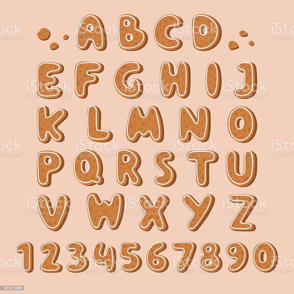 Cookie biscuit alphabet font vector illustration. vector art illustration