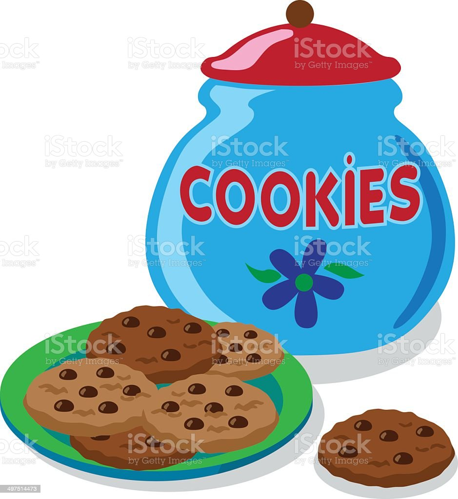 cookie jar and chocolate chip cookies vector art illustration