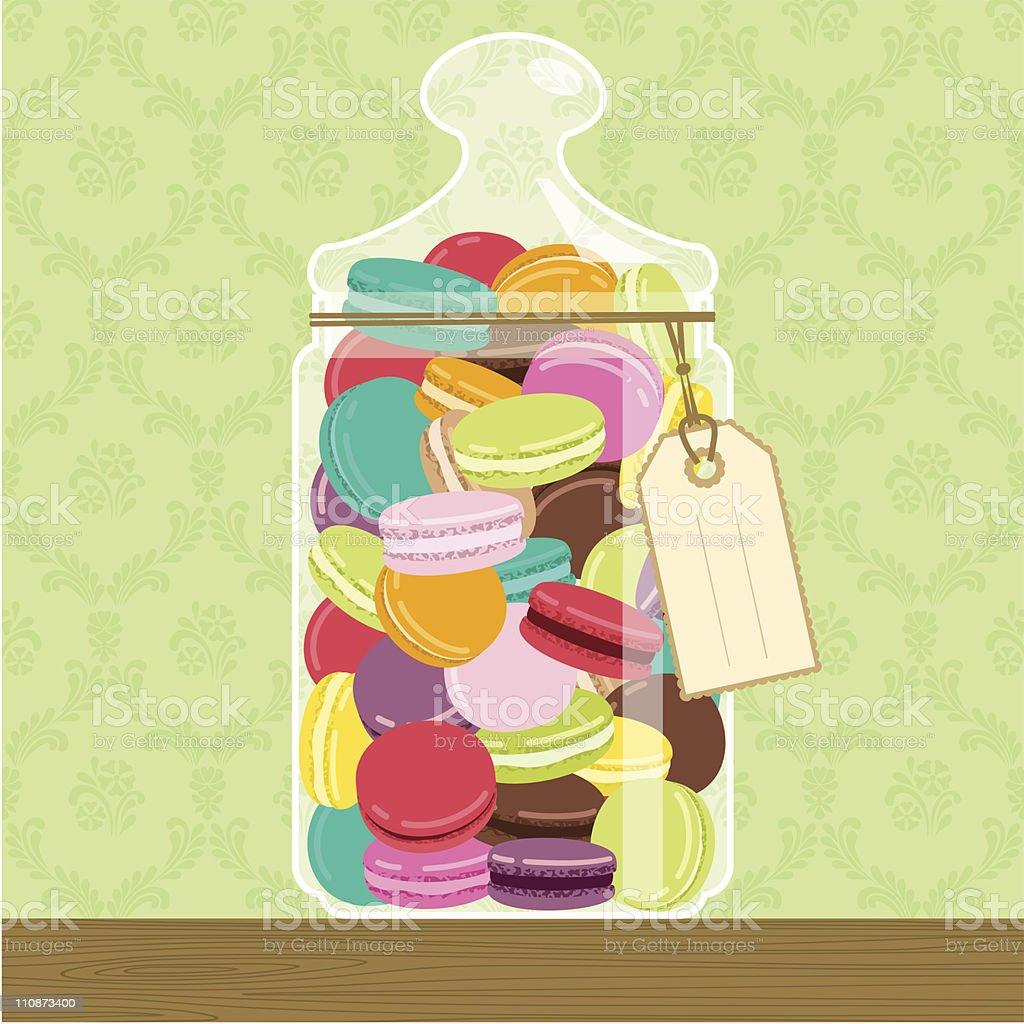 Cookie jar full of macarons vector art illustration