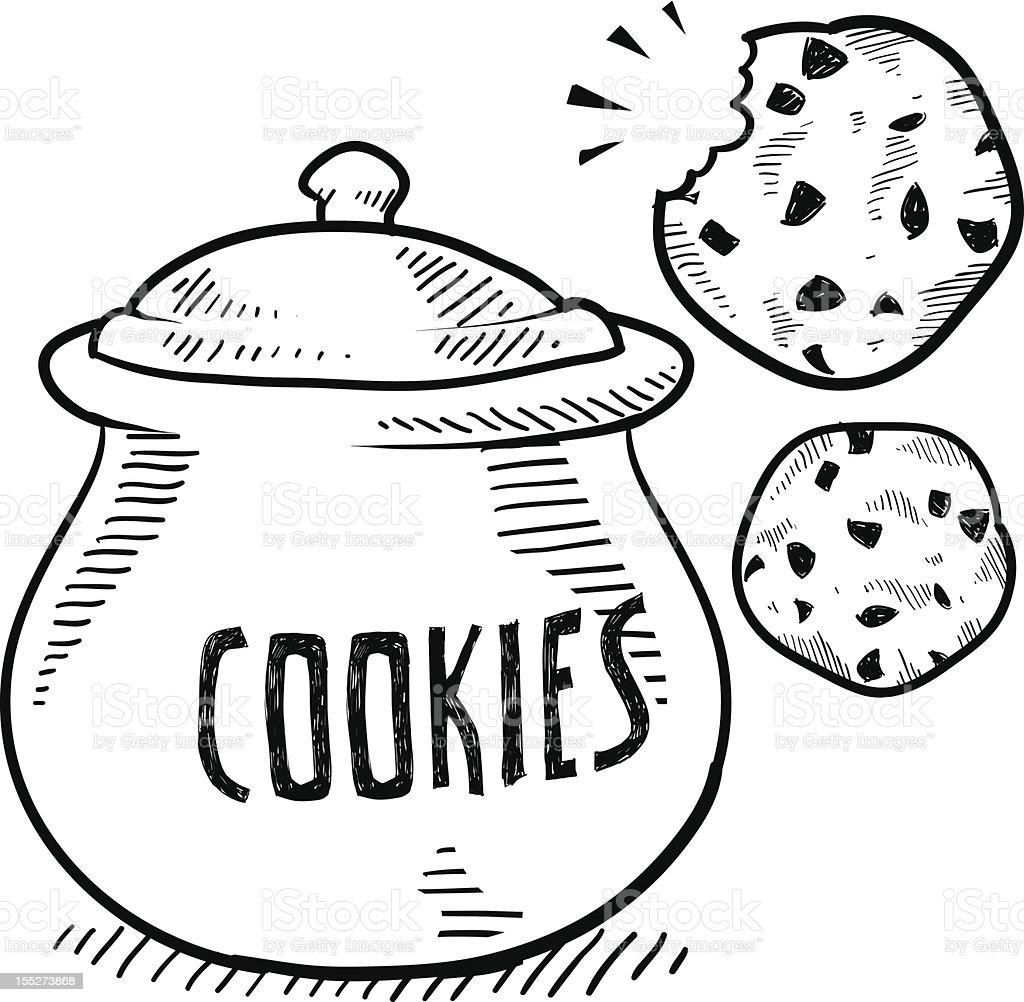 Cookie jar vector sketch vector art illustration