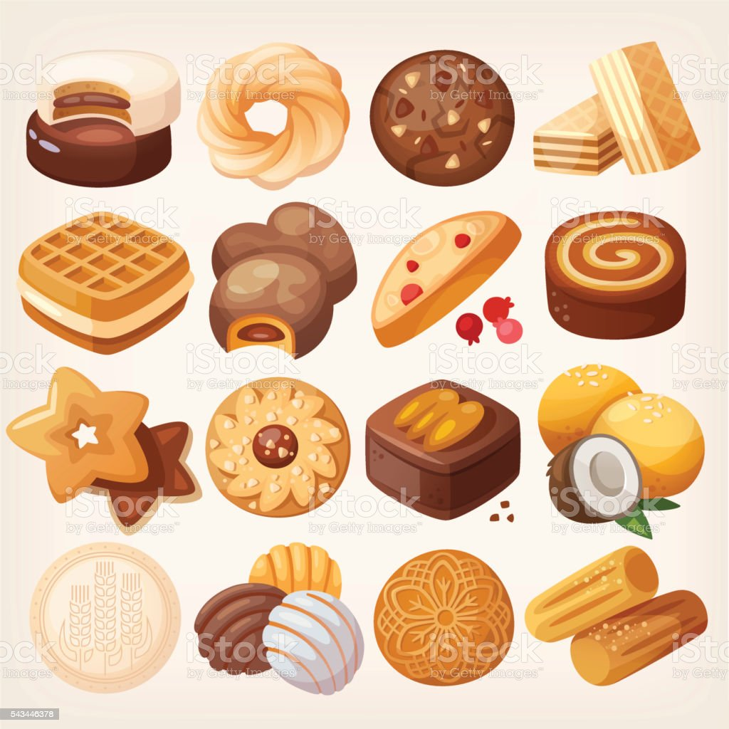 Cookies and biscuits icons set. vector art illustration