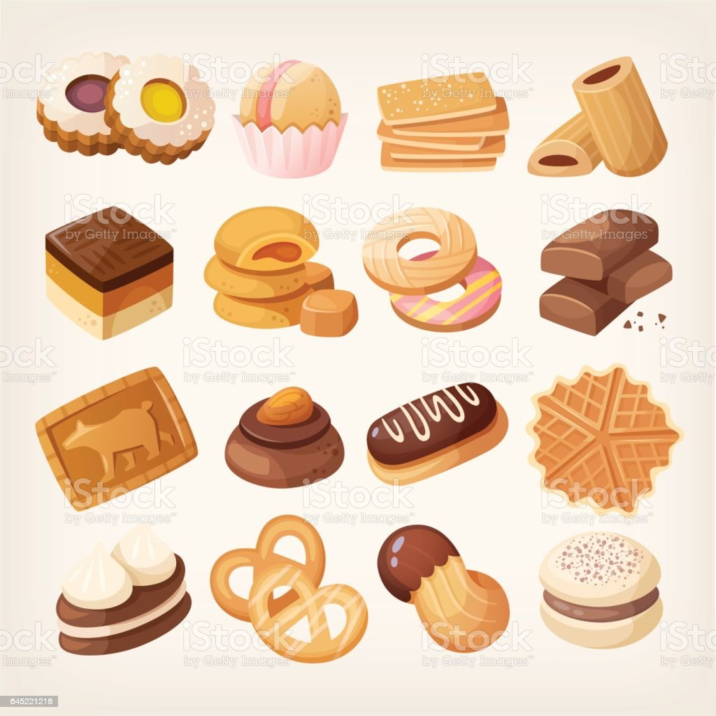 Cookies and biscuits icons set vector art illustration