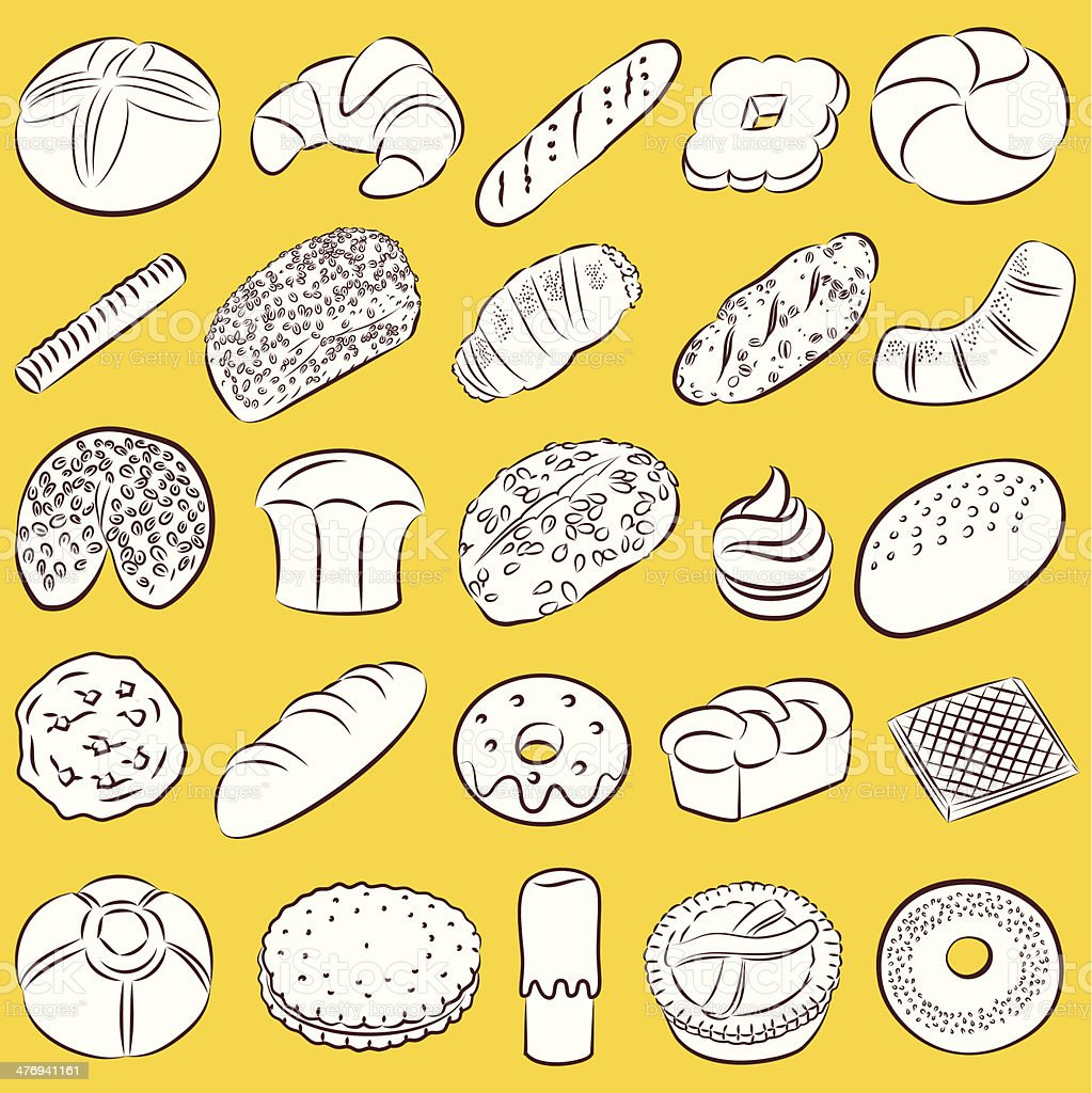 cookies and breads vector art illustration