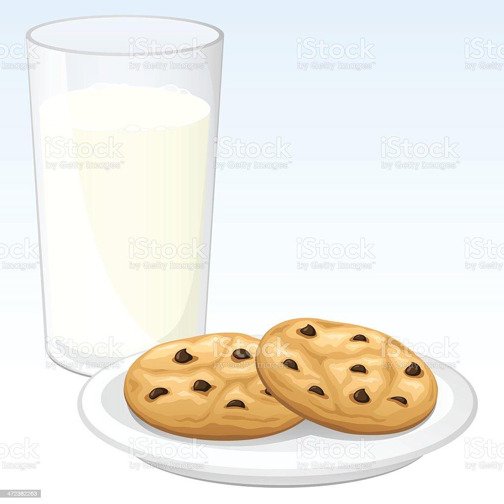 Cookies and Milk vector art illustration
