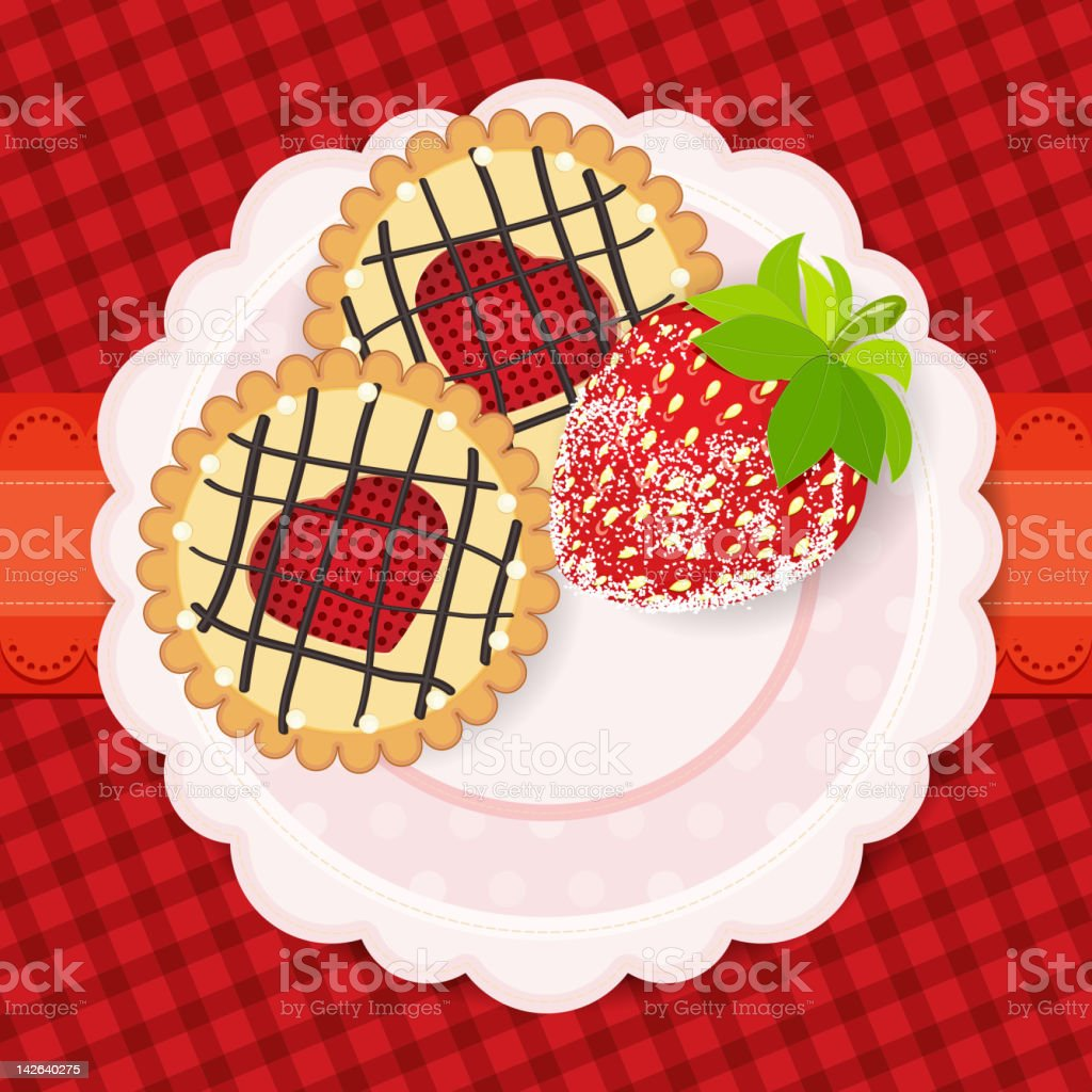 cookies and strawberry on a plate royalty-free stock vector art