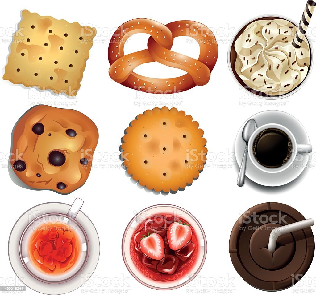 Cookies  different drinks vector art illustration