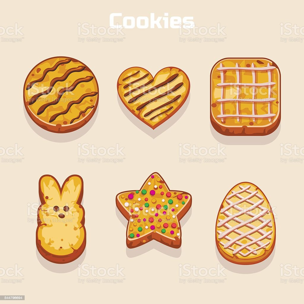Cookies in different shapes set vector art illustration