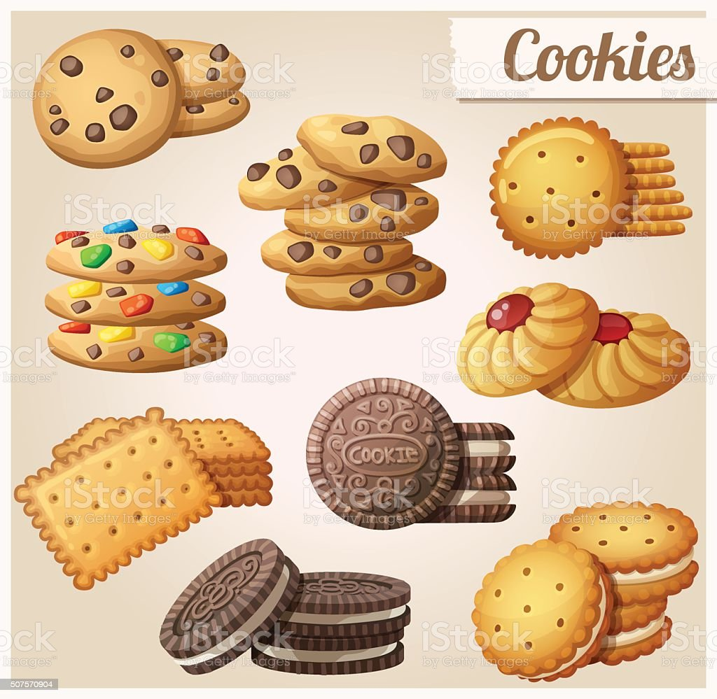 Cookies. Set of cartoon vector food icons vector art illustration