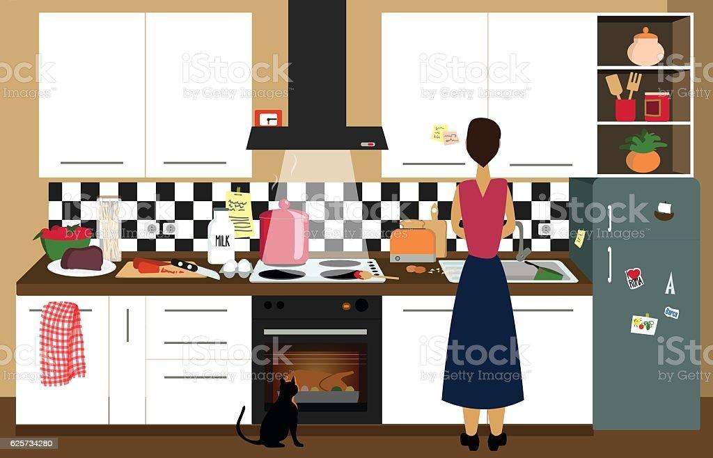 Cooking a big dinner vector art illustration
