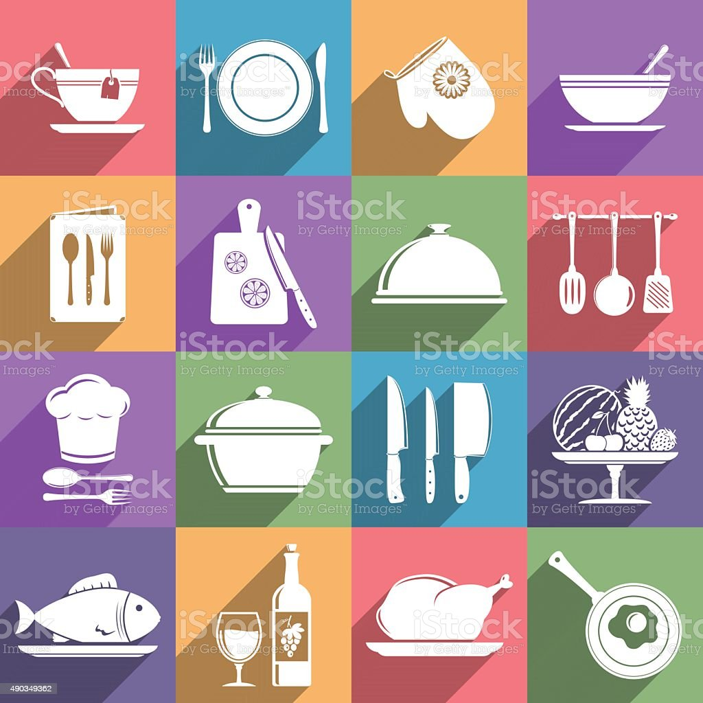 Cooking and kitchen icon set vector art illustration