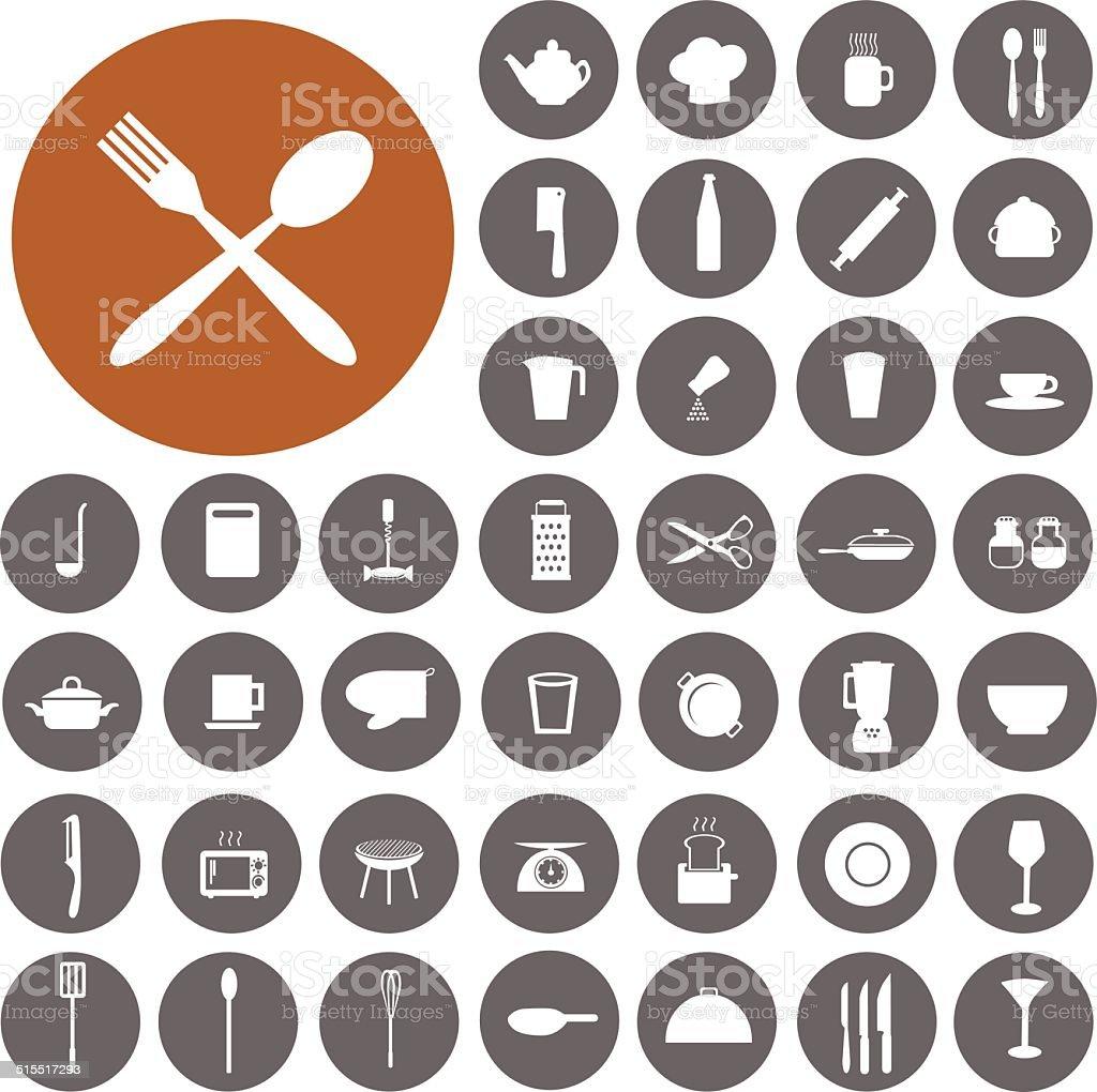 Cooking and kitchen icons set. Illustration eps10 vector art illustration