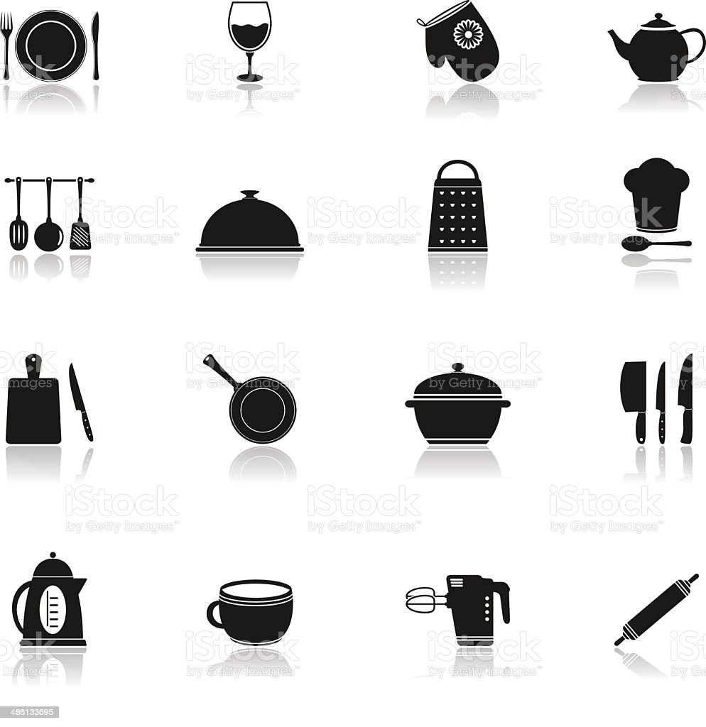 Cooking and kitchen icons vector art illustration