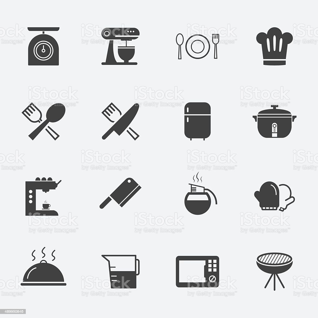 cooking and kitchen tools icon pack vector art illustration