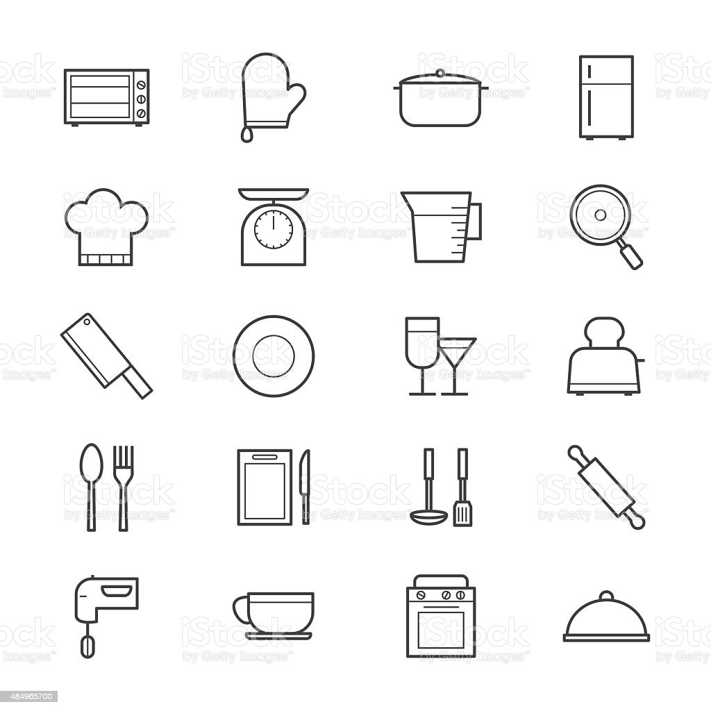 Cooking and Kitchen Utensil Icons Line vector art illustration