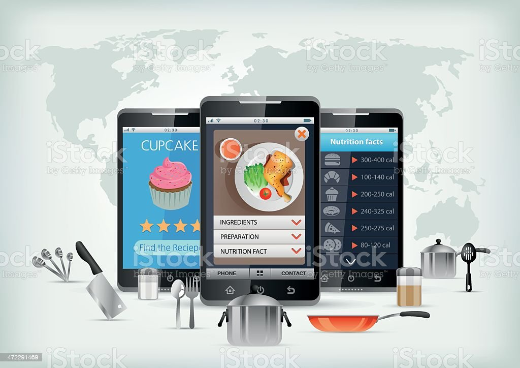 Cooking App for smartphone vector art illustration