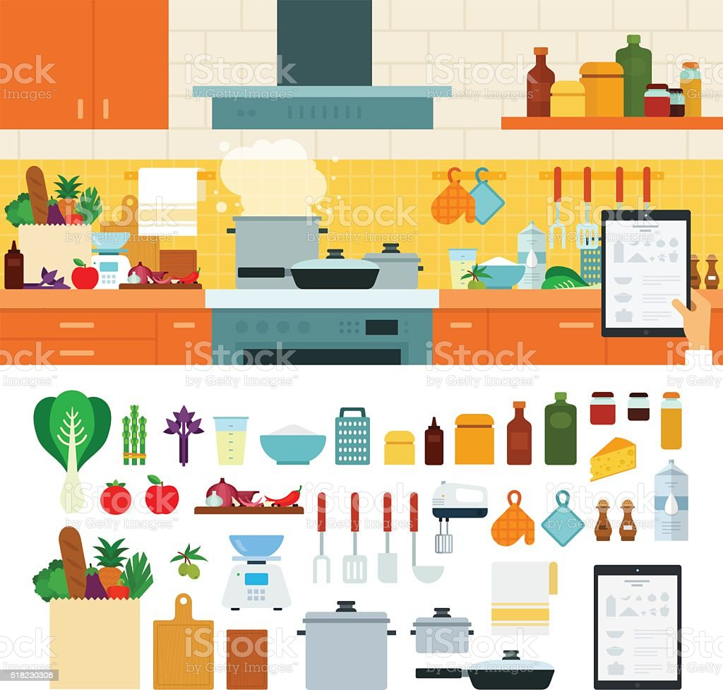 Cooking at home using online recipes app vector art illustration