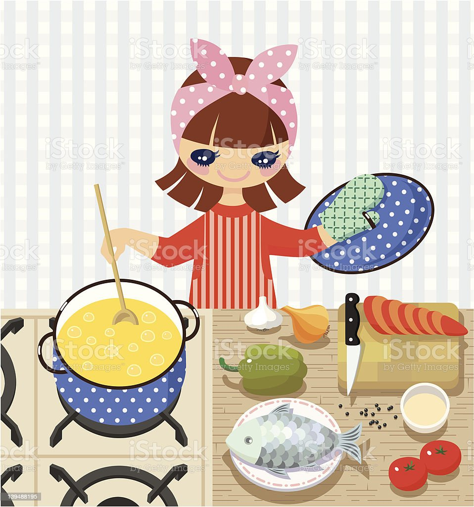 Cooking at home vector art illustration