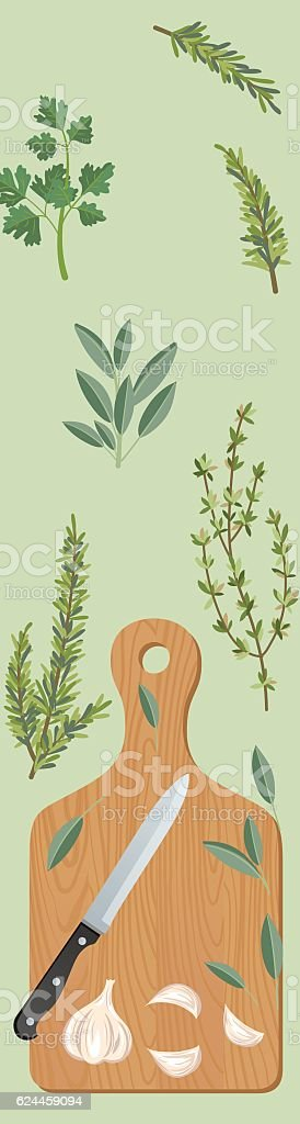 Cooking Background With Herbs And A Cutting Board vector art illustration