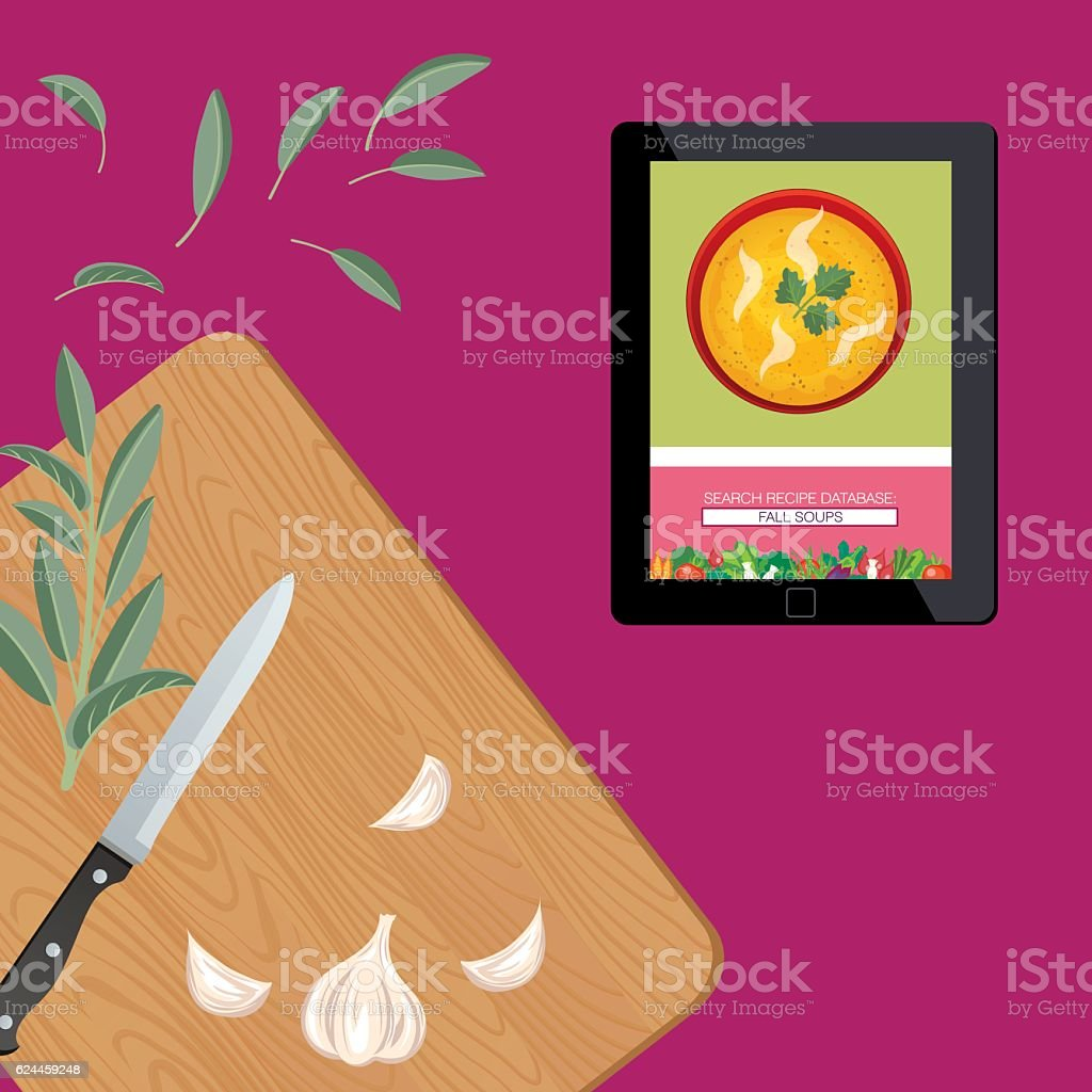 Cooking Background With Herbs On A Purple Base vector art illustration