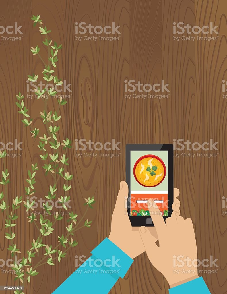 Cooking Background With Herbs On A Table vector art illustration
