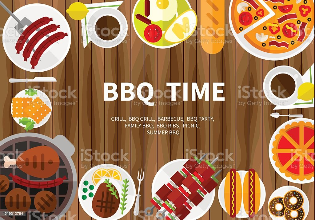 Cooking banner with grill top view, vector art illustration