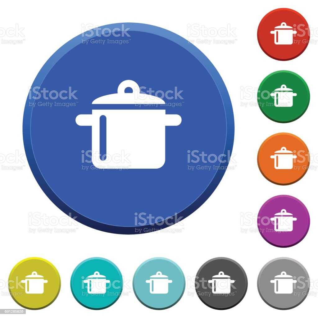 Cooking beveled buttons vector art illustration