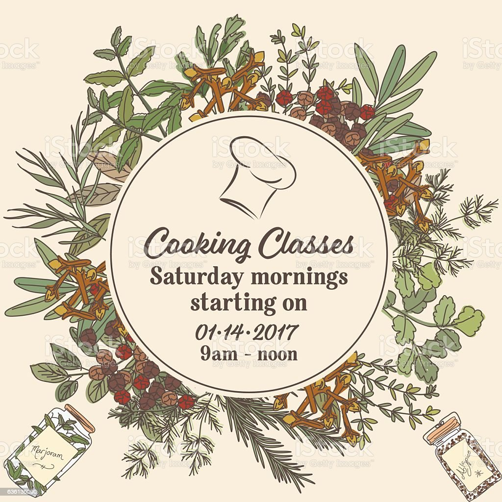 Cooking Class Template With Various Herbs And Spices vector art illustration