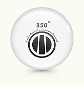 Cooking Degrees icon on white round vector button