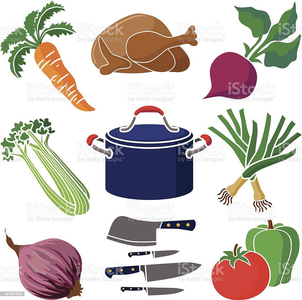 cooking design elements vector art illustration