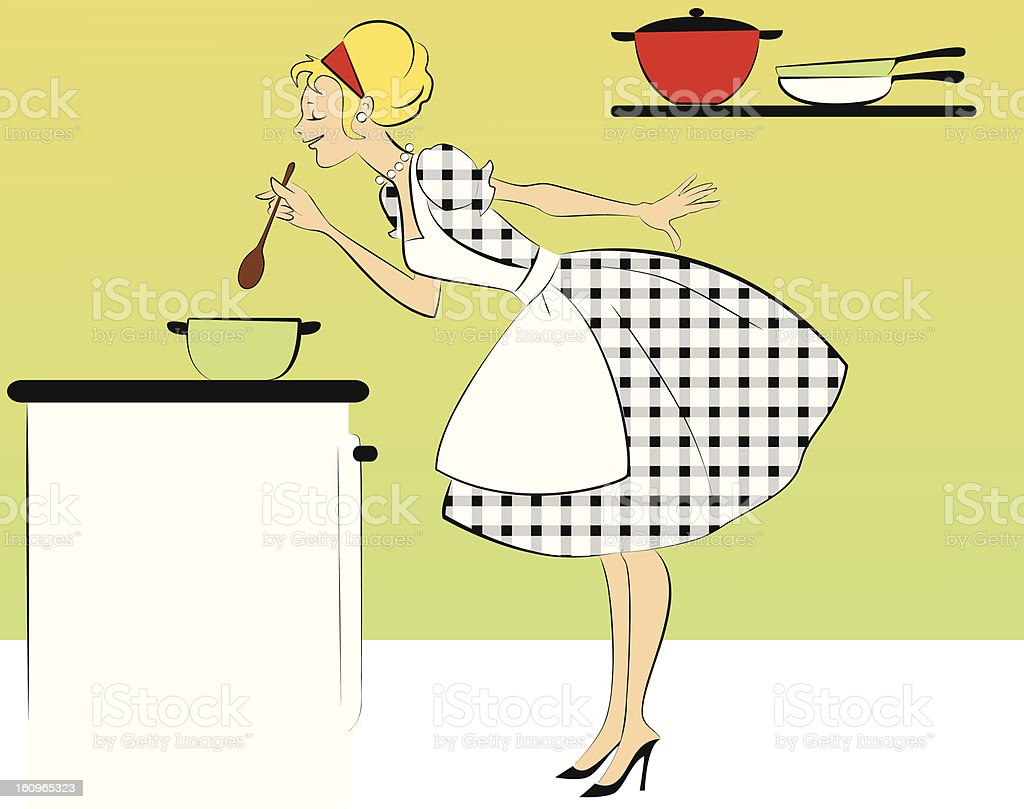 Cooking dinner royalty-free stock vector art