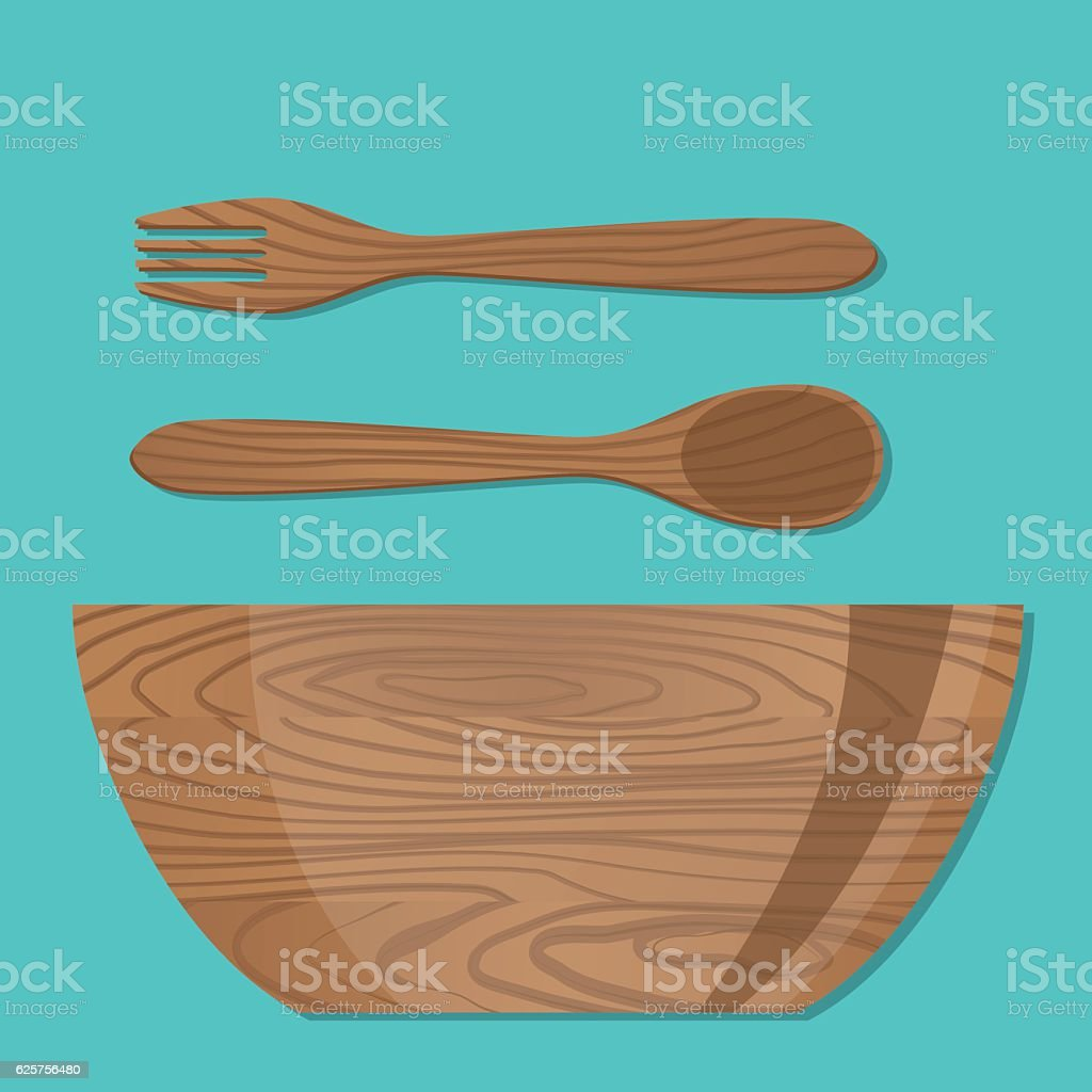 Cooking Elements -  Wooden Bowl, Fork and Spoon vector art illustration