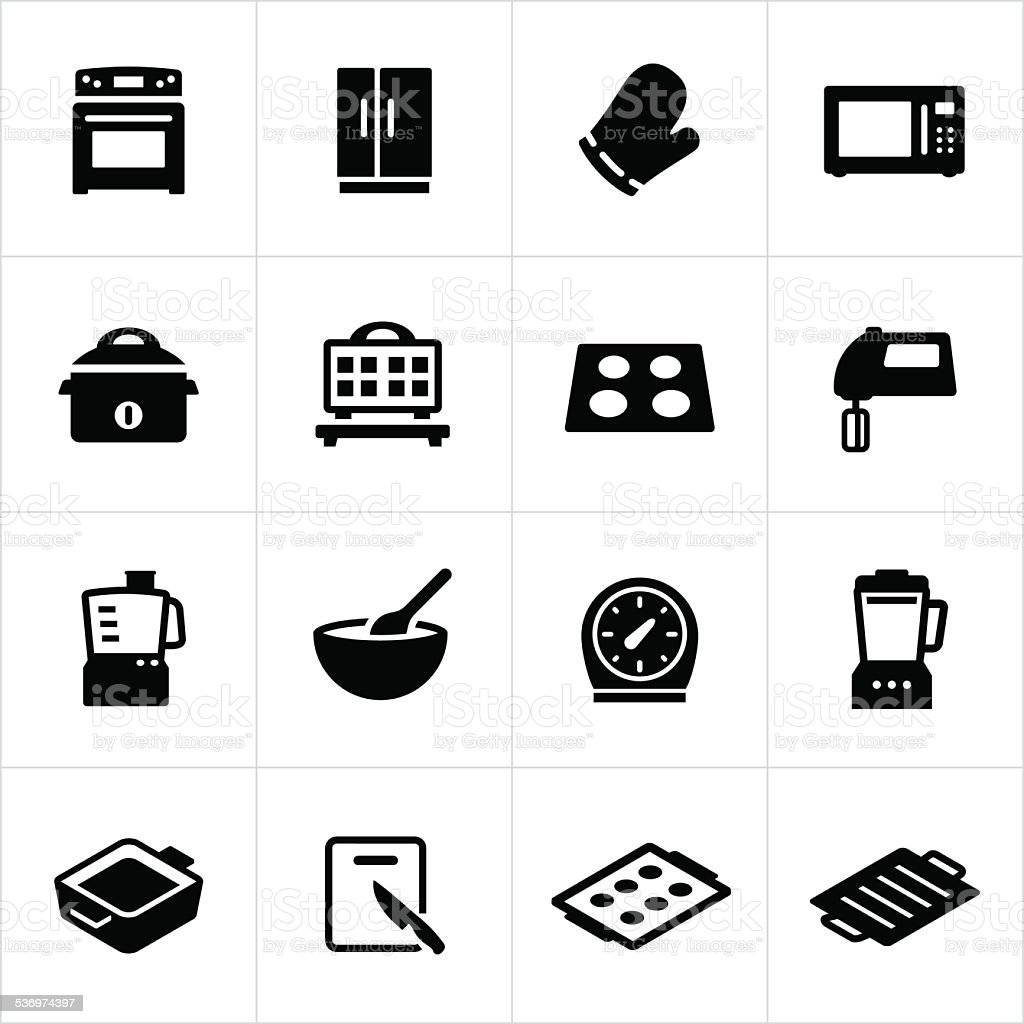 Cooking Equipment Icons vector art illustration