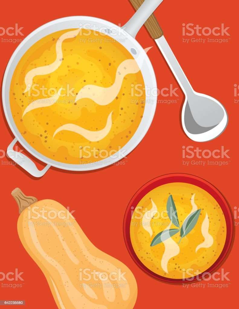 Cooking Flat lay of Butternut Squash vector art illustration