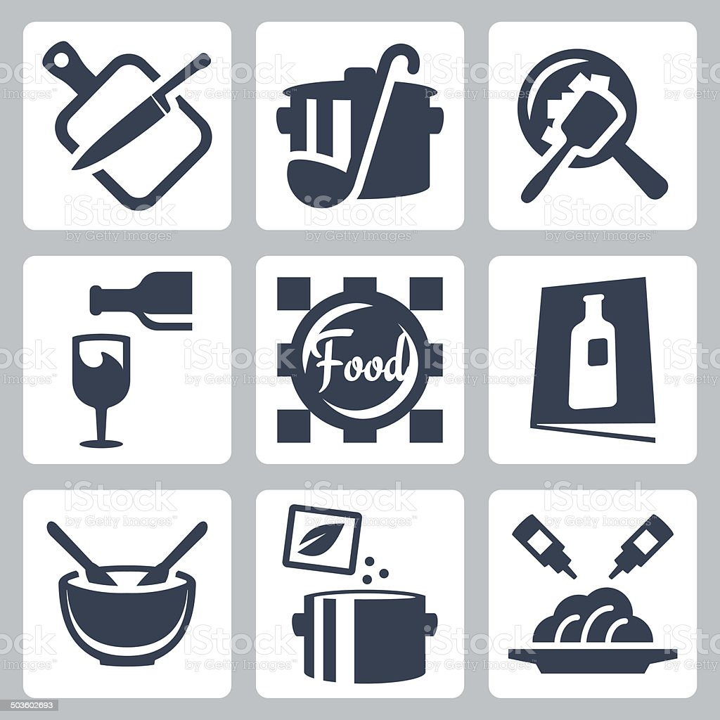 Cooking food and dining related vector icons set vector art illustration
