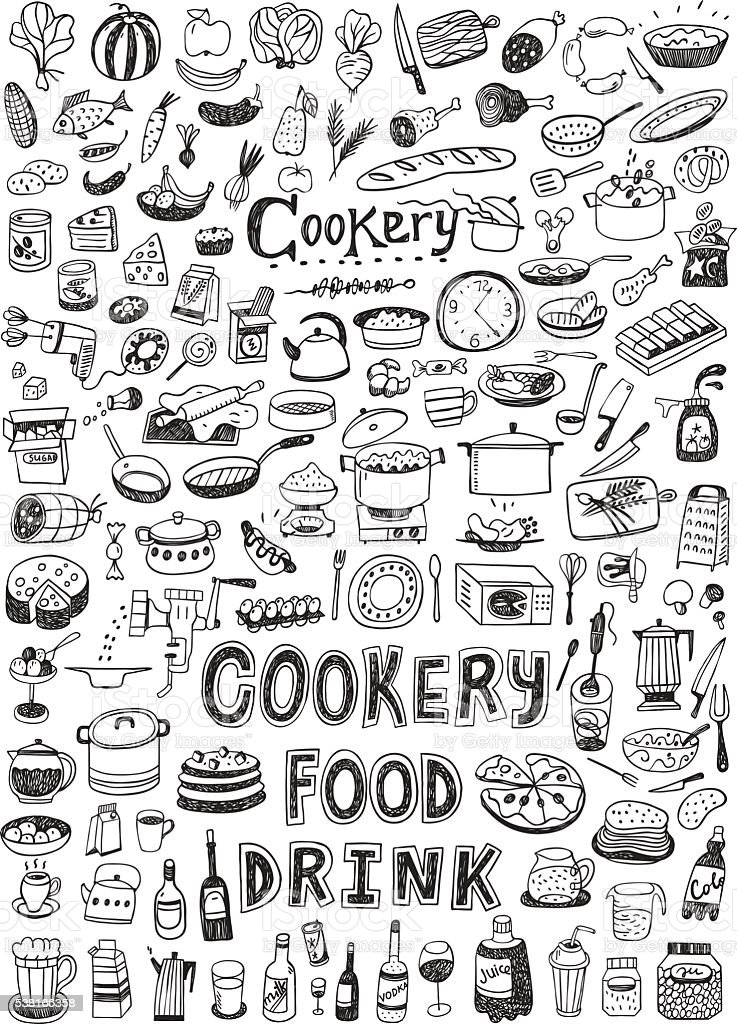 cooking food doodles vector art illustration