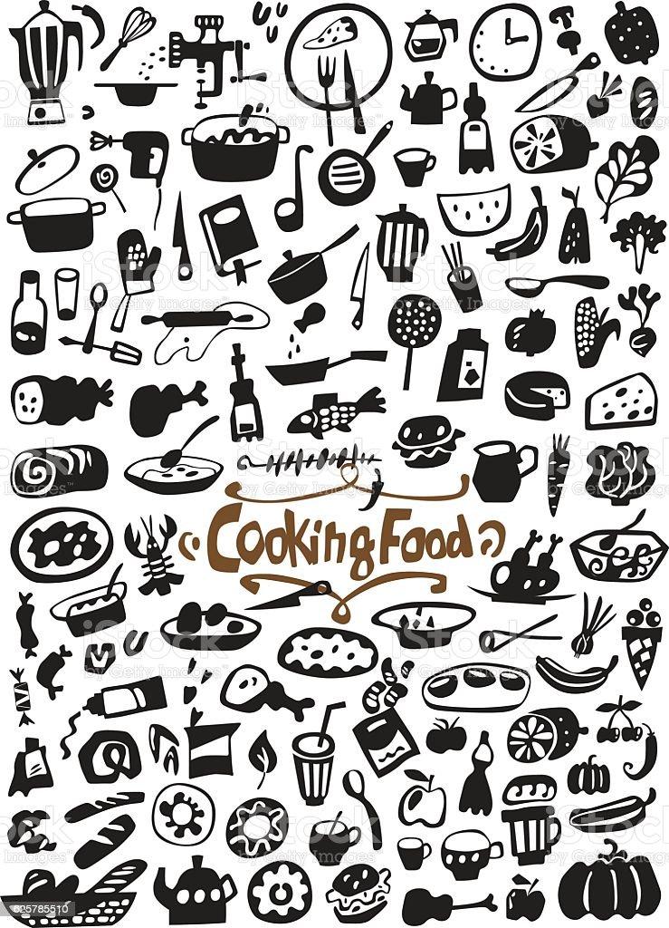cooking food doodles vector art illustration
