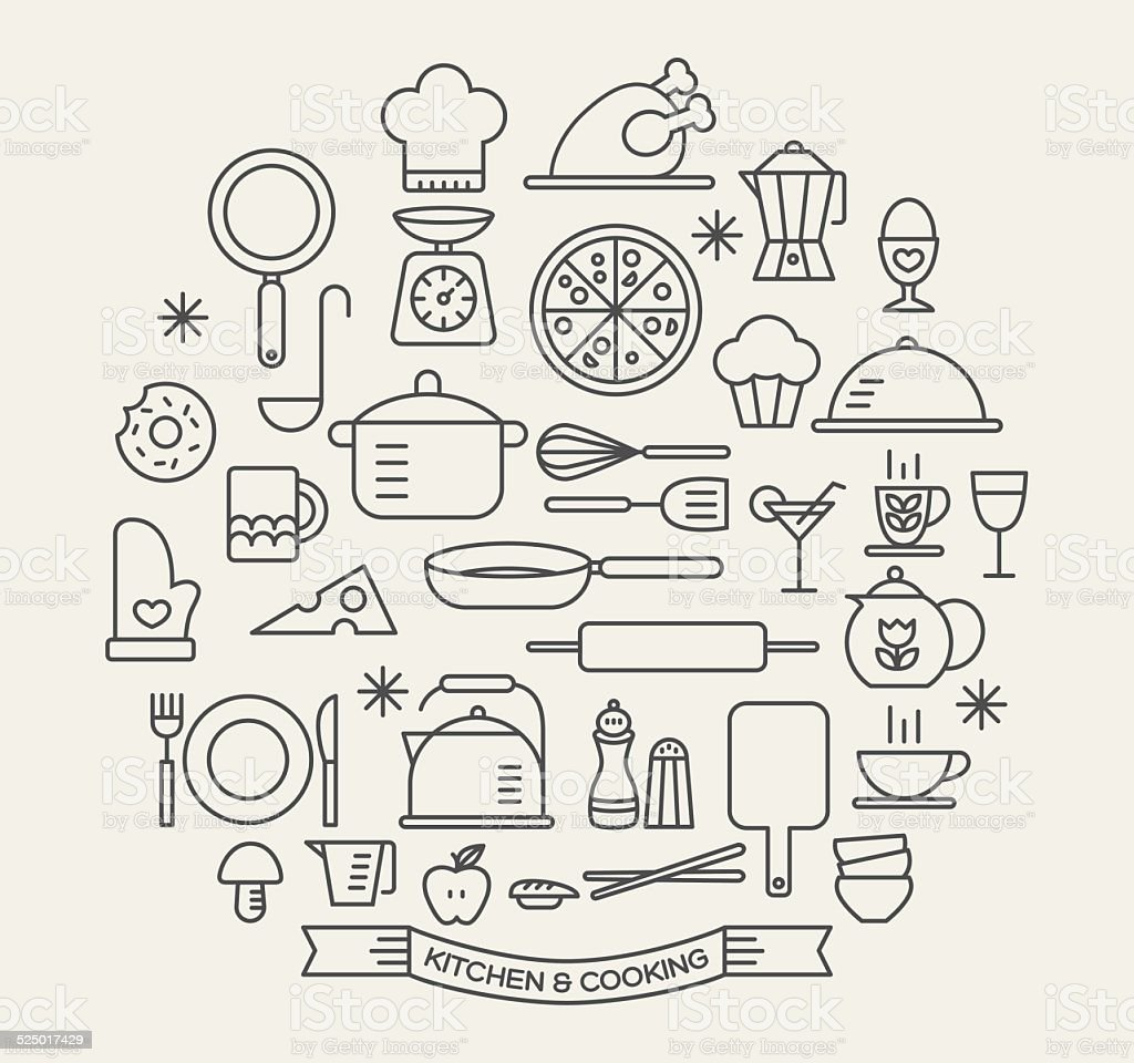 Cooking Foods and Kitchen icons set vector art illustration